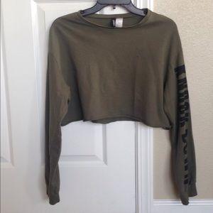 Divided, sage green, crop top jacket, sz M